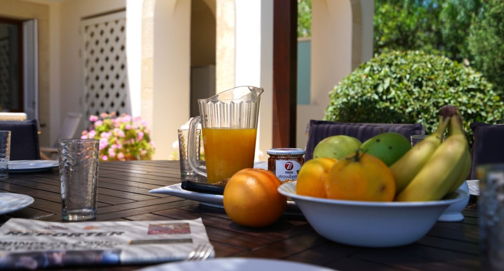 Villa 247 - Enjoy breakfast on the terrace. Aphrodite Hills Resort, Cyprus.