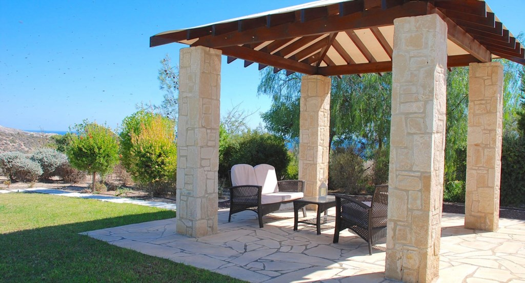 Villa 252 - Enjoy the shade of the pergola with sea views. Aphrodite Hills Resort, Cyprus.