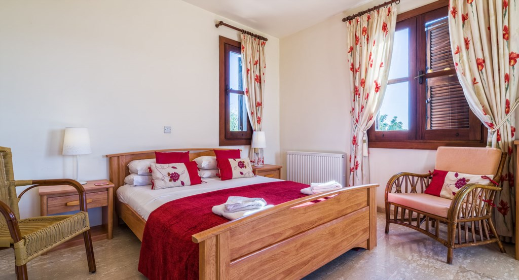 Villa 64 - Beautiful master bedroom with TV and DVD player. Aphrodite Hills Resort, Cyprus.