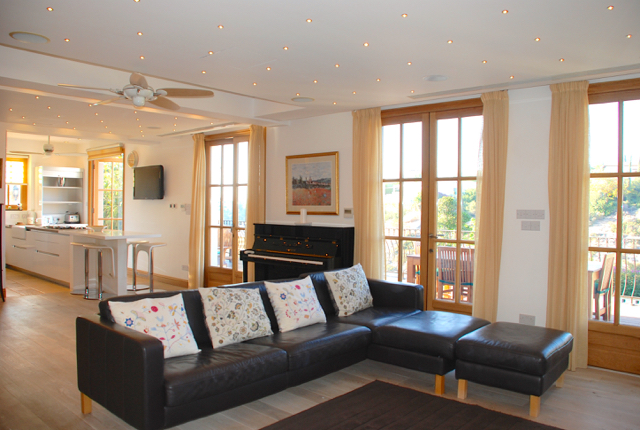 Villa 305 - Open plan ground floor living room and kitchen. Aphrodite Hills Resort, Cyprus.