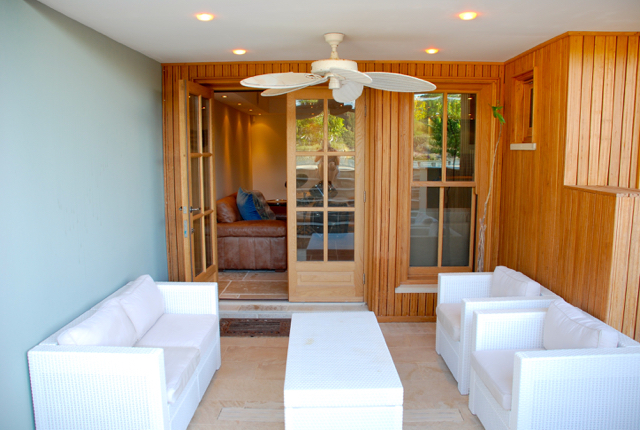 Villa 305 - Shaded social area on pool terrace level. Aphrodite Hills Resort, Cyprus.