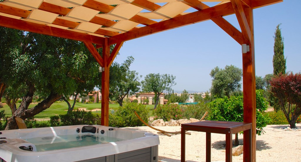 Villa 24 - Shaded hot tub with lovely golf views. Aphrodite Hills Resort, Cyprus.