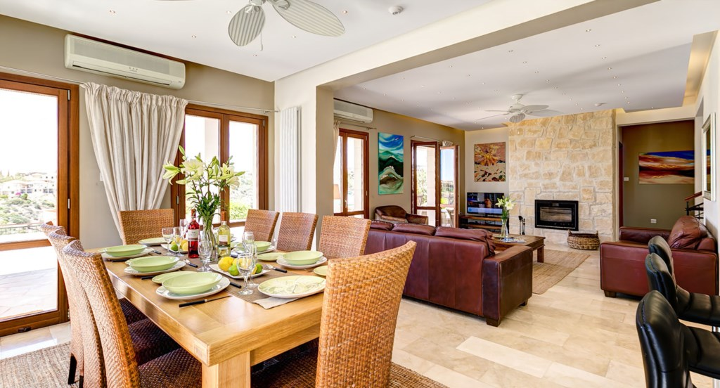 Villa Anthos - open plan dining and living area