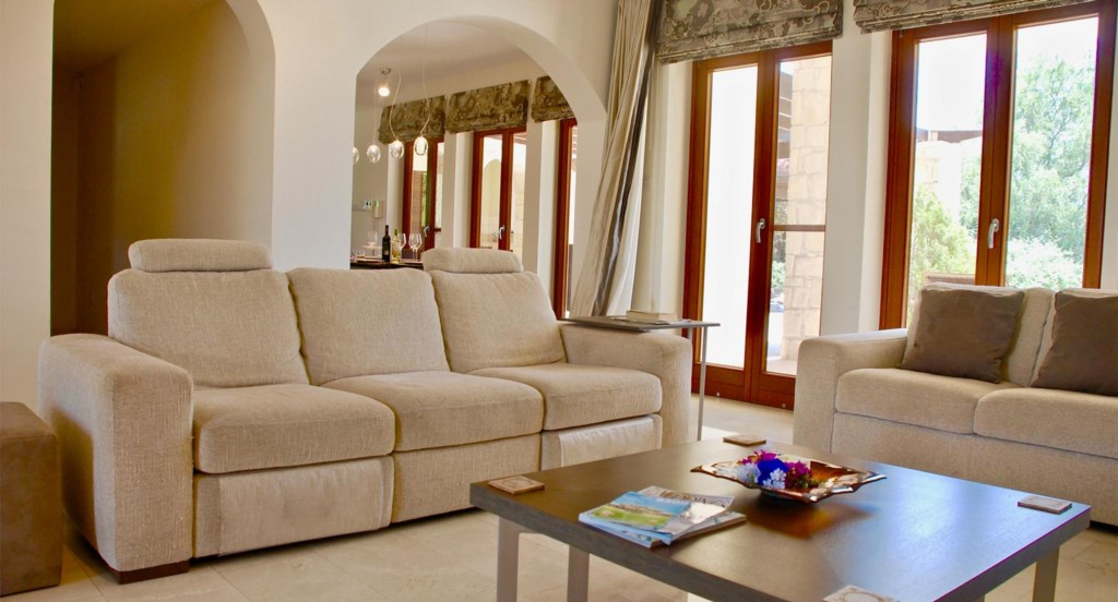 Villa 230 - Comfortable, open plan living area/dining area. Aphrodite Hills Resort, Cyprus.