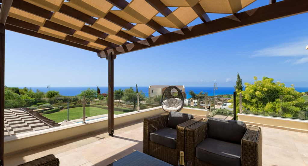 Villa 350 - Roof top terrace with gorgeous sea views. Aphrodite Hills Resort, Cyprus.
