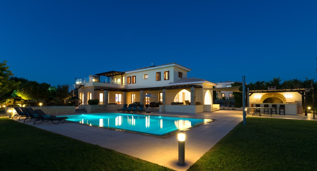 Villa 350 - Lit up and glorious at night. Aphrodite Hills Resort, Cyprus.
