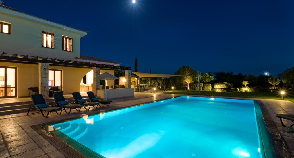 Villa 350 - Lit up in the moonlight - beautiful settings.  Aphrodite Hills Resort, Cyprus.