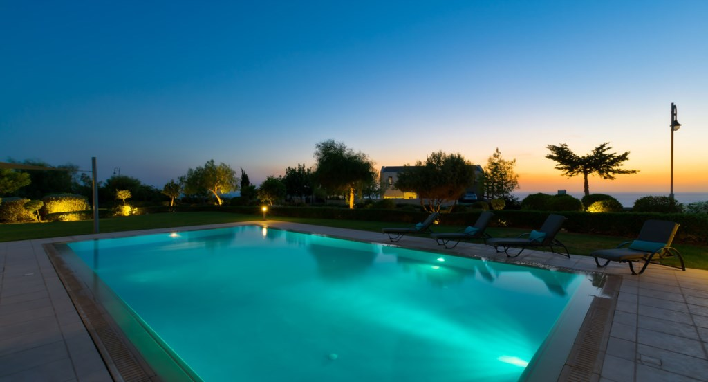 Villa 350 - Sunset views by the pool.  Aphrodite Hills Resort, Cyprus.