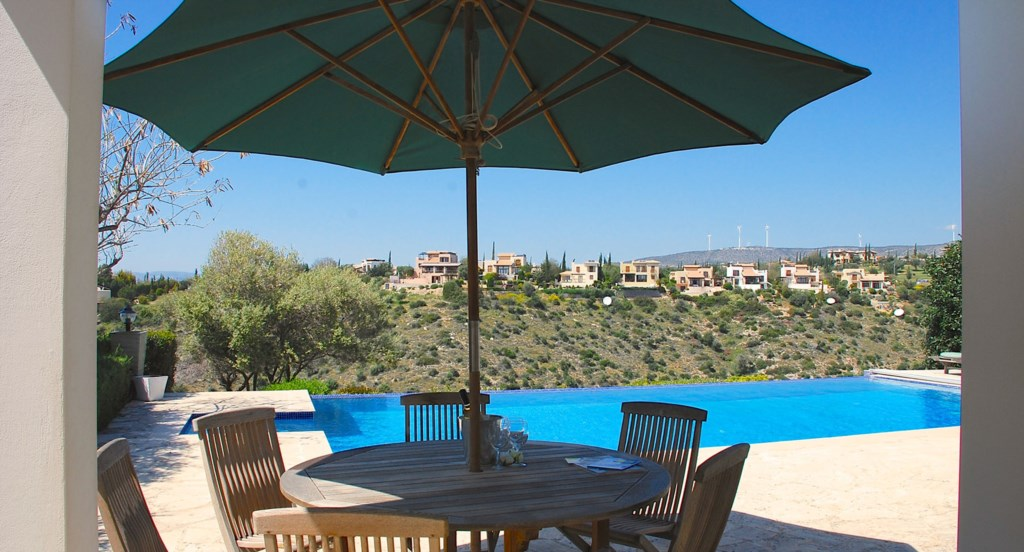 Villa 122 - Dining out by the pool is lush. Aphrodite Hills Resort, Cyprus.