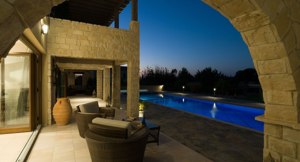 By the pool - Villa 141 - Luxury Holiday Rentals in Aphrodite Hills Cyprus