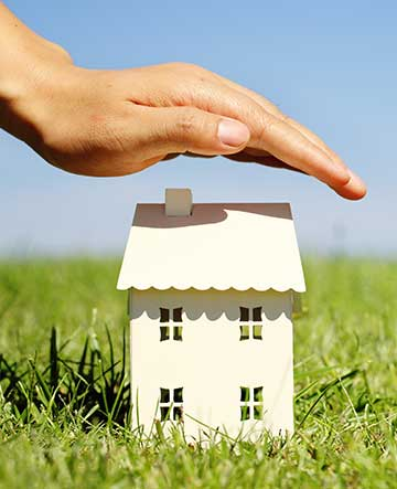 fake house on grass with hand hovering over