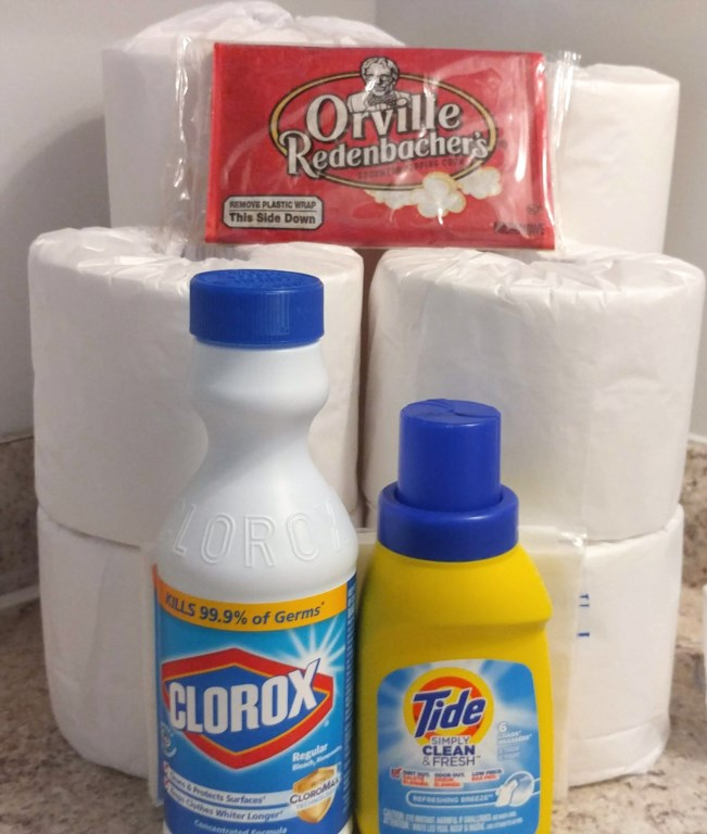 Paper towels and 4 rolls of T.P. and extras to get you started.