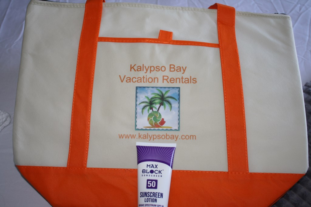 Insulated beach bag with 50 spf sunscreen are our gifts to you.
