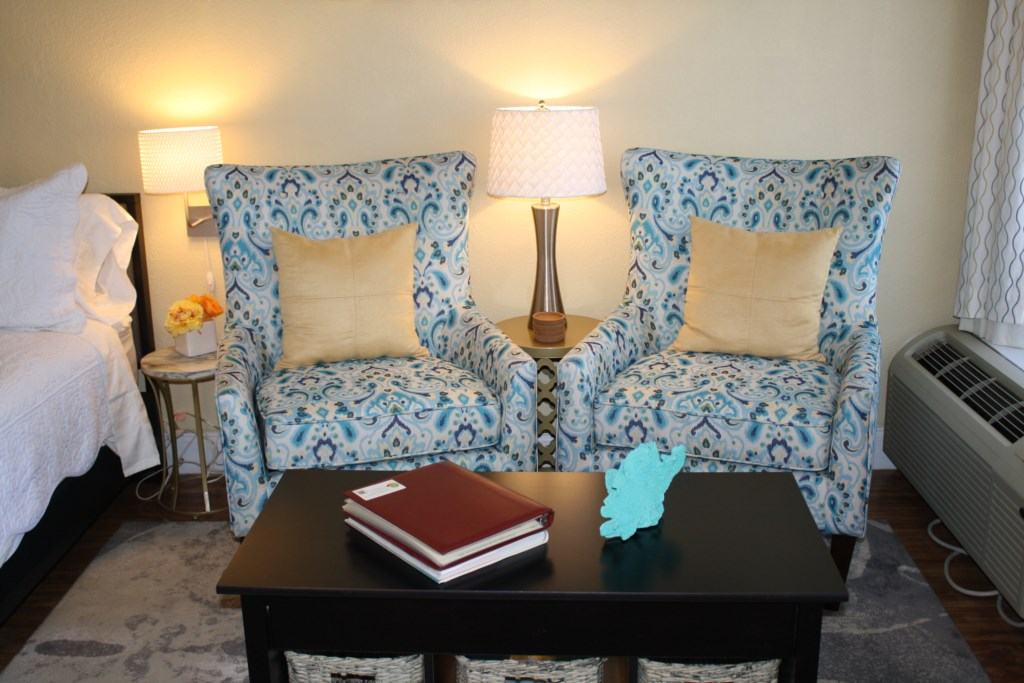 New comfy wing back chairs to relax in while watching t.v.