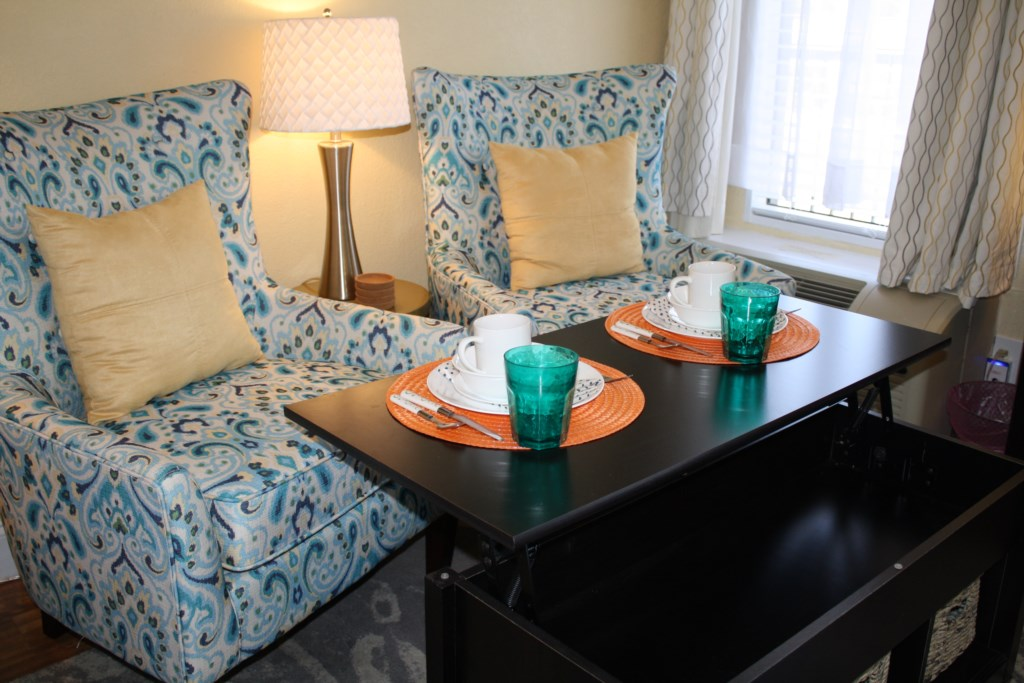 Dining for two with the convertible coffee table.