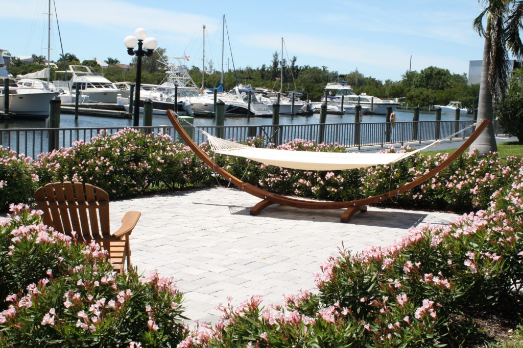 Relax in one of the hammocks overlooking the marina.