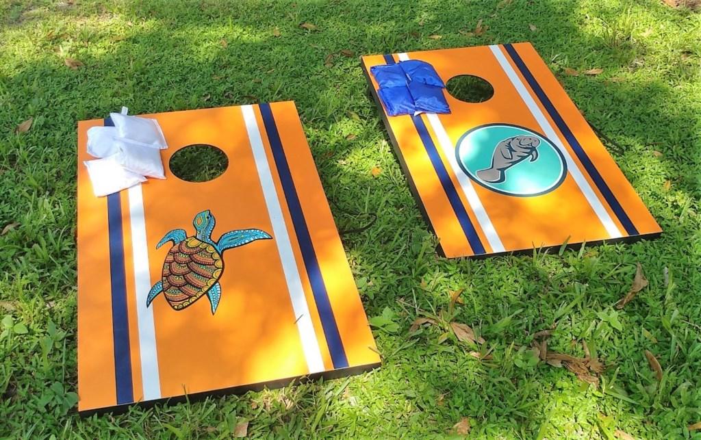 Sea Turtles vs. Manatees!  Play a round of Corn Hole!