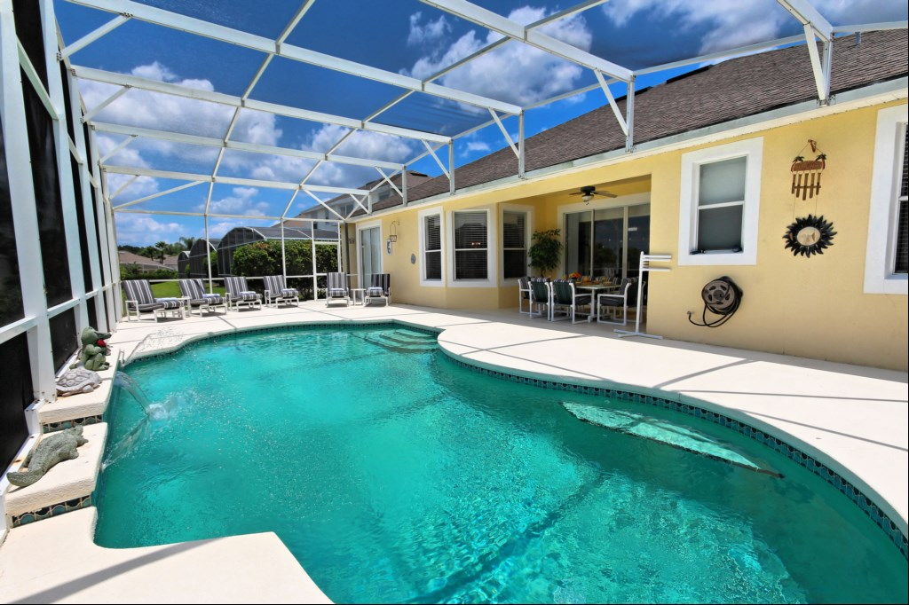 View of pool and covered lanai