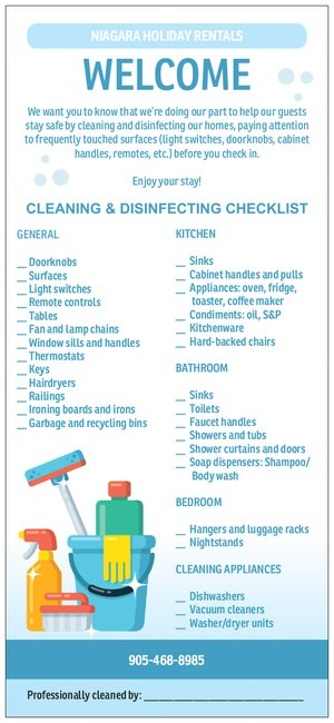 Cleaning checklist signed off by the housekeeper after each clean to be left for the guests