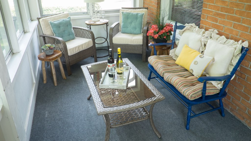 Any time of day is good to enjoy a great front porch!  Niagara on the Lake, house rental