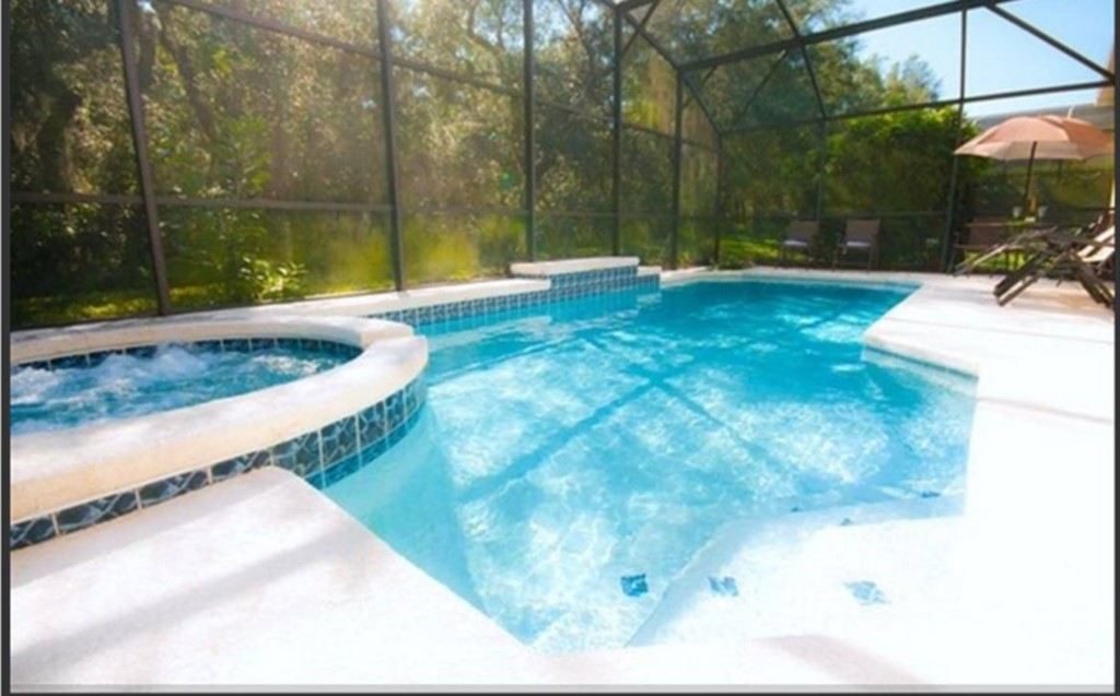 Relax in our home's heated jacuzzi jet spa & pool backing unto a private forest.