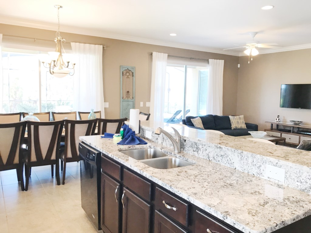 Kitchen Overlooks Dining and Living Rooms and also the Pool!