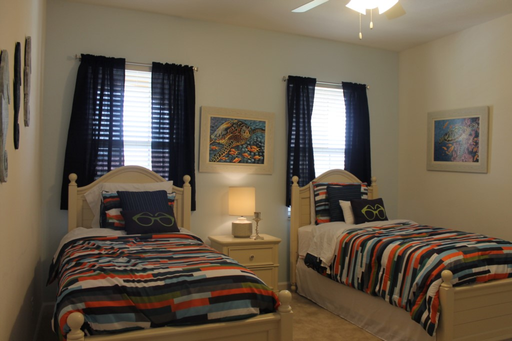 Large 4th Bedroom on Second Floor with Two Twin Beds and Yet Another En-Suite Bathroom