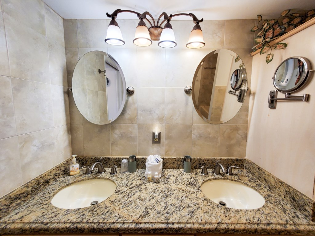 Master his and her sinks and vanity