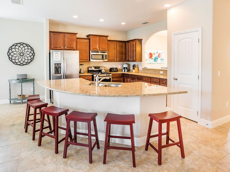 Large, Open Concept Kitchen! Opens up to the living room and views of the pool!