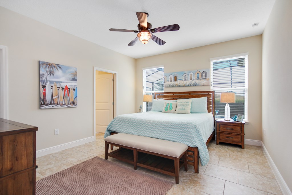 Bedroom 1 is a King Master En Suite with Private Pool Access