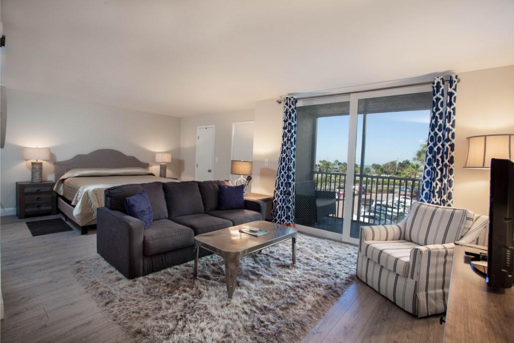 Bedroom Area W/TV & Balcony