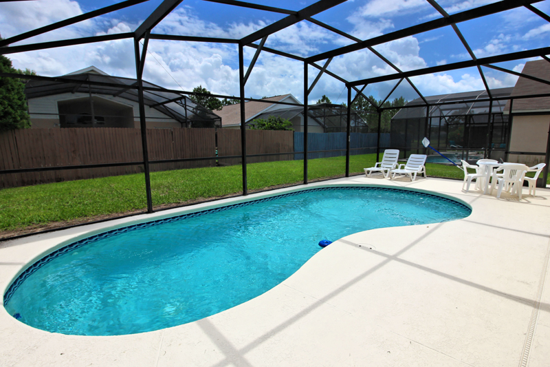 Gorgeous private screened in pool deck