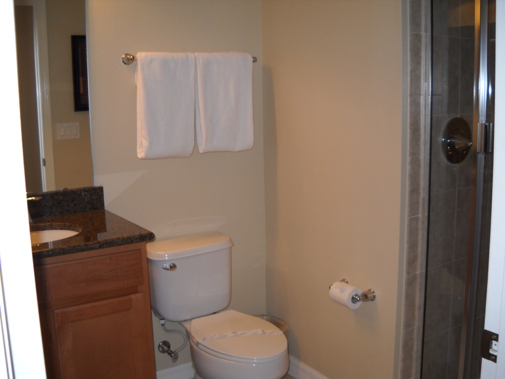 Upstairs bathroom in hall