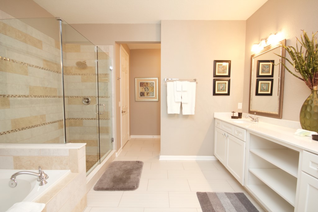 Master Bath With Walk In Shower and Separate Large Tub