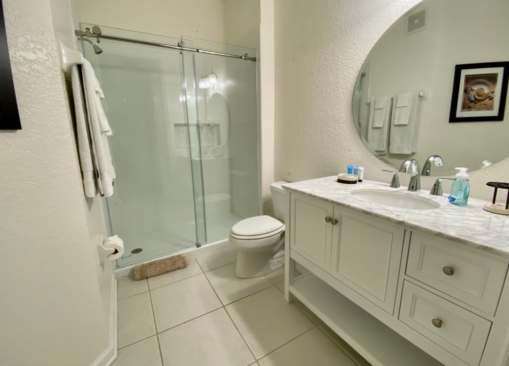 remodelled bathroom with large w/in shower