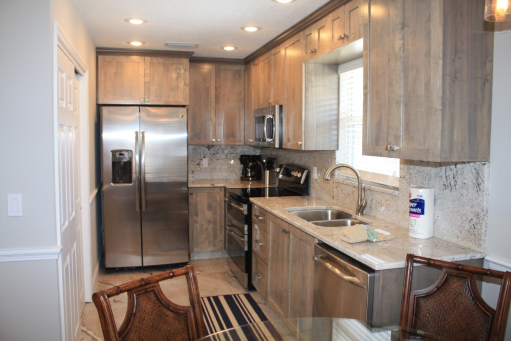 New designer kitchen with exotic granite