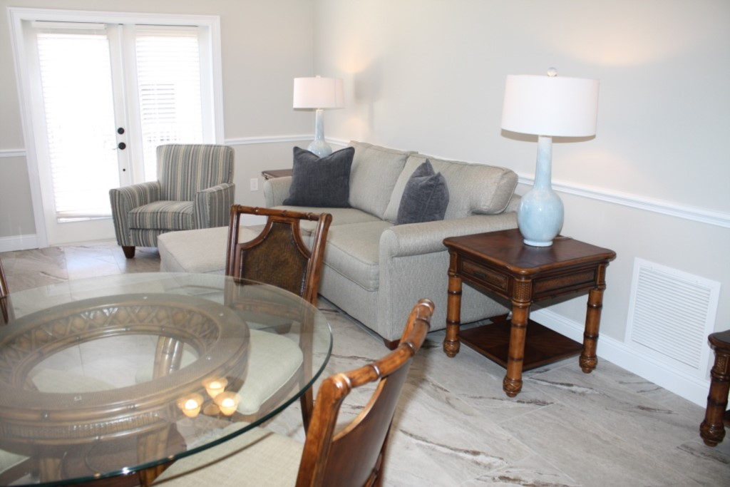 Living room with a new imported ceramic floor tile