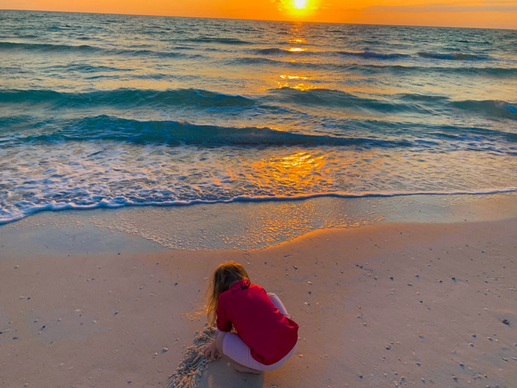 Granddaughter at sunset
