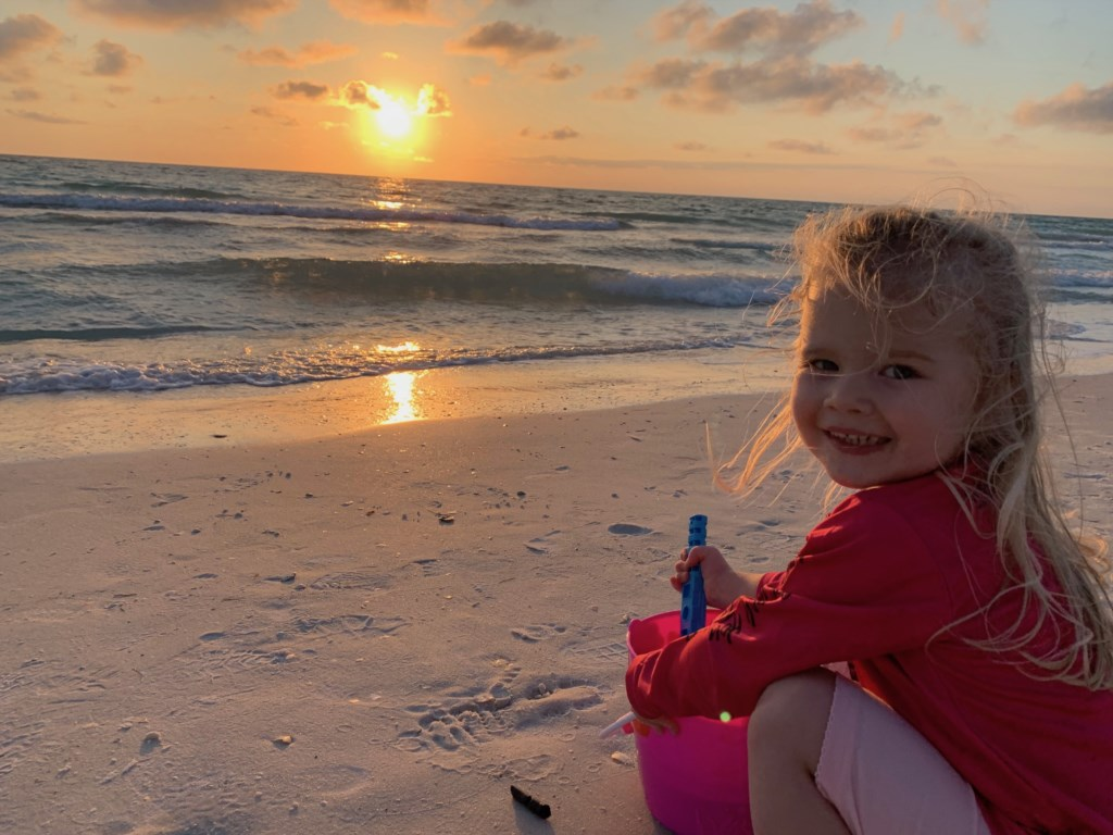 Sunset with our granddaughter