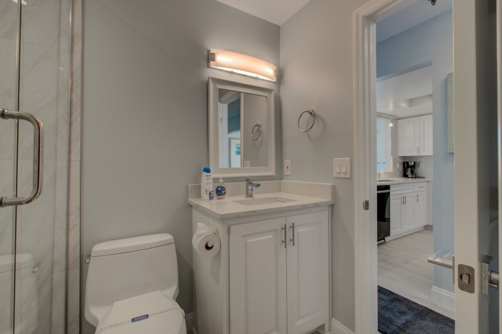 Completely Remodelled Guest Washroom-Walk-In Shower