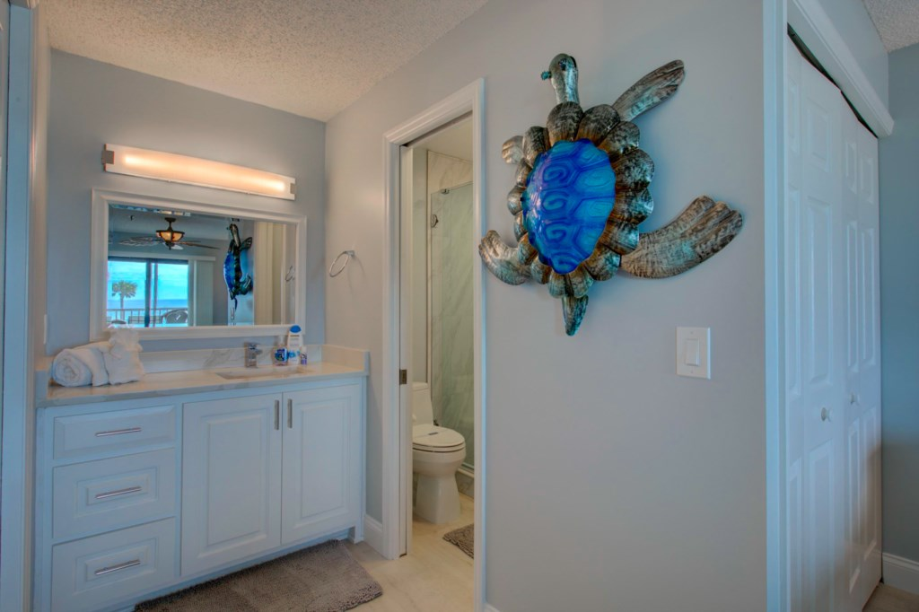 New En-Suite Washroom-Quartz Counter Top-Walk-In Shower-Gulf Of Mexico In The Mirror