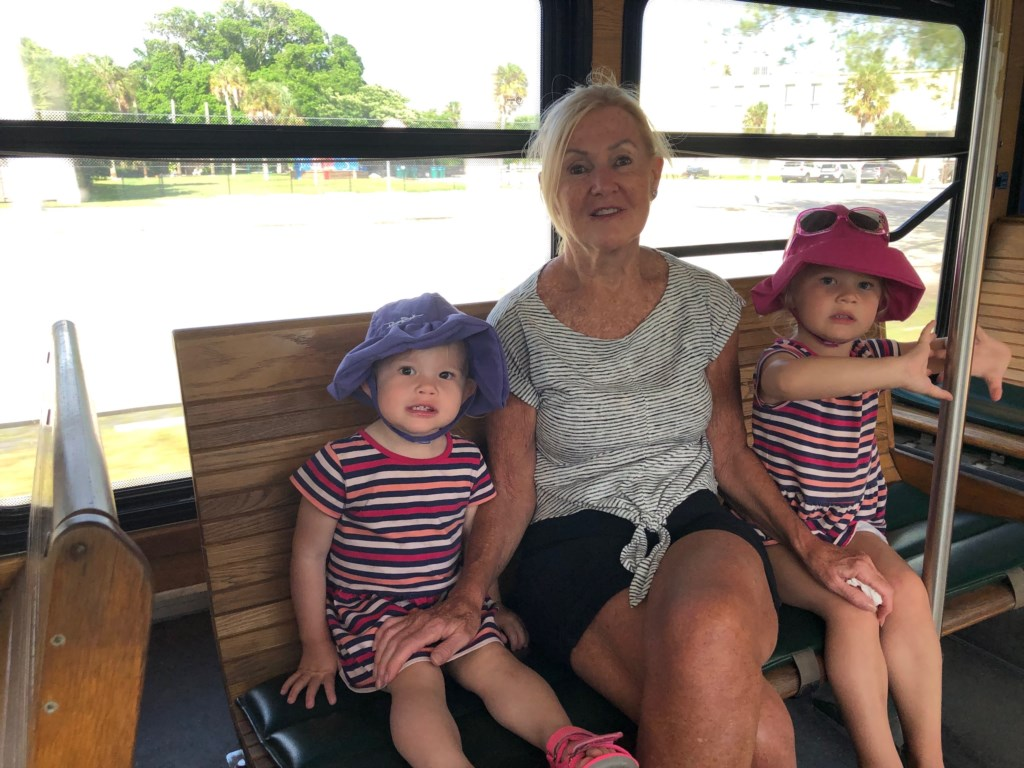 Granddaughter's riding the free trolley with Granny