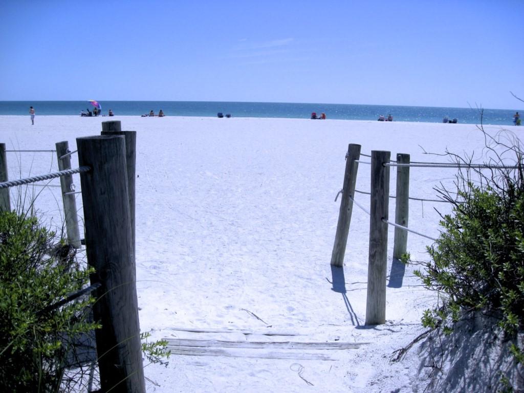 The private beach access