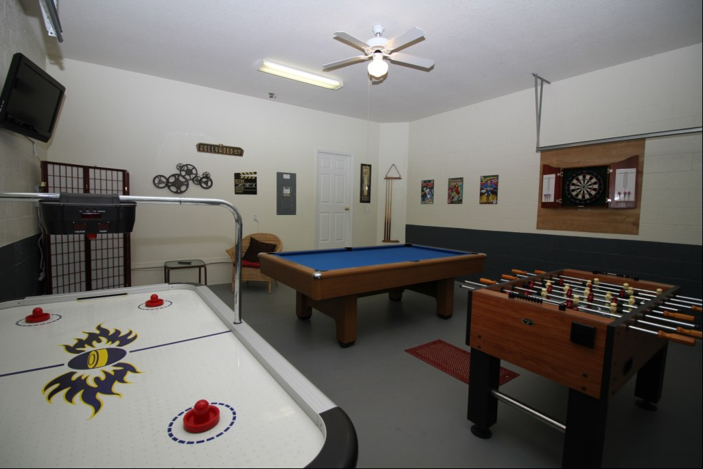 Game Room with Pool Table, Foosball, Air Hockey, Dart Board and 32