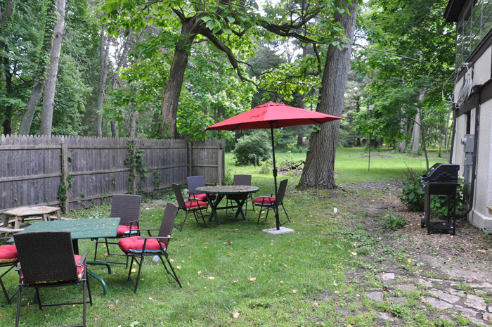 Backyard with gas grill