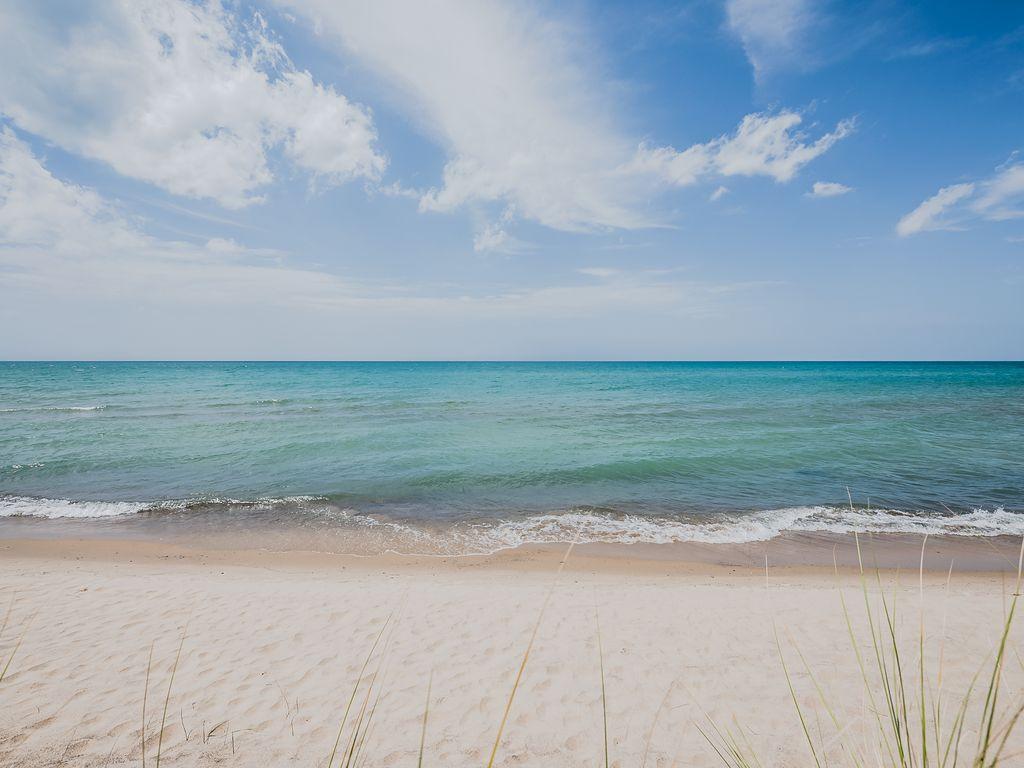 Lake Michigan beach a five minute walk away