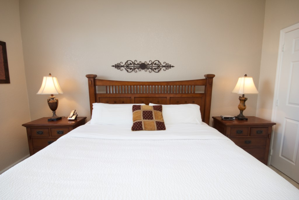 Master bed with pillowtop mattress