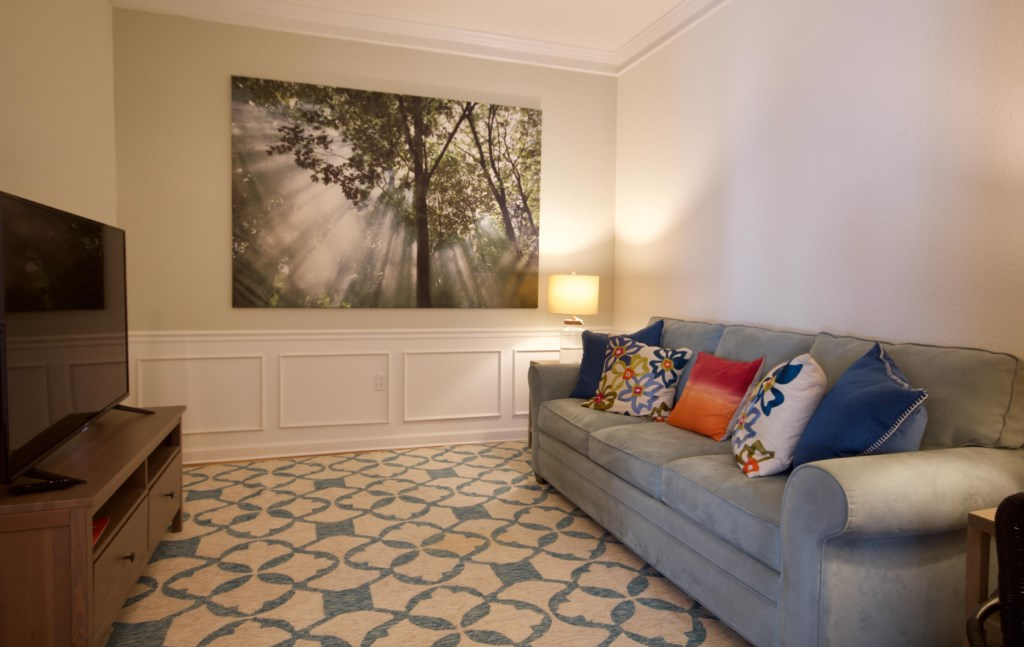 Cosy den with sleeper sofa