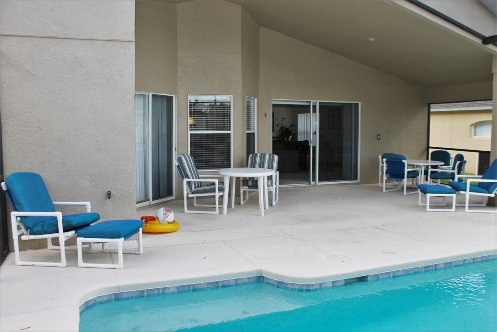 Pool patio seating area and loungers!
