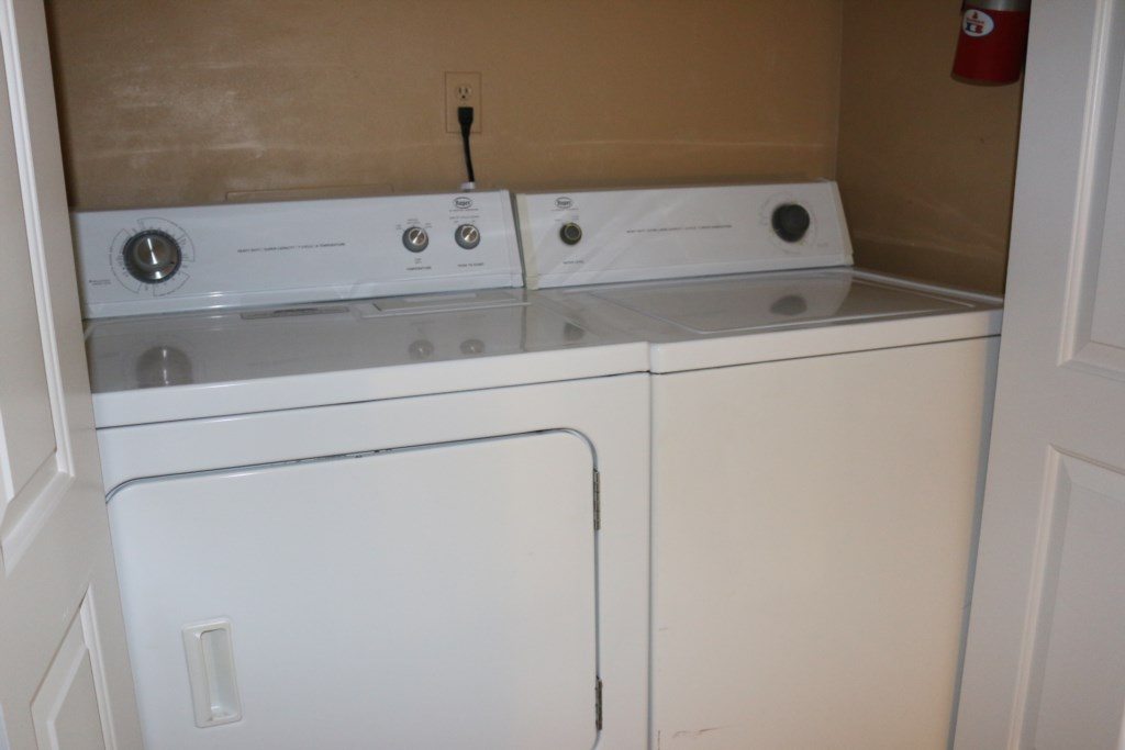 Unit has full size washer and dryer